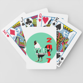 2017 Rooster Year in Green Circle Playing C Poker Deck
