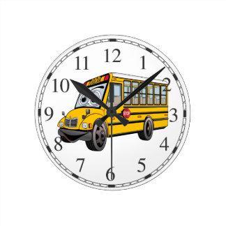 2017 School Bus Cartoon Round Clock