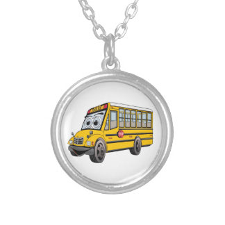 2017 School Bus Cartoon Silver Plated Necklace