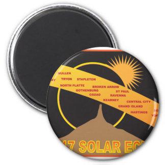 2017 Solar Eclipse Across Nebraska Cities Map Magnet