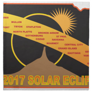 2017 Solar Eclipse Across Nebraska Cities Map Napkin