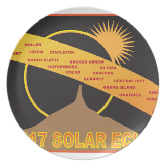 2017 Solar Eclipse Across Nebraska Cities Map Plate
