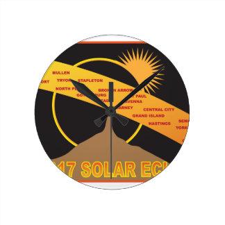 2017 Solar Eclipse Across Nebraska Cities Map Round Clock