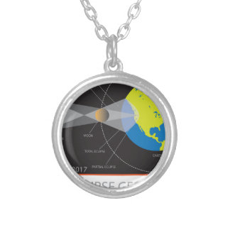 2017 Solar Eclipse Geometry Across Nebraska Cities Silver Plated Necklace