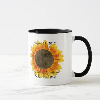 2017 Solar Eclipse Moon and Sunflower Mug