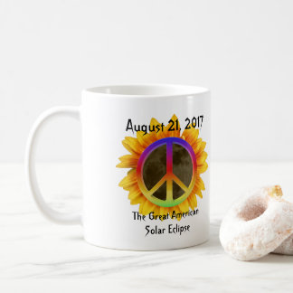 2017 Solar Eclipse, Sunflower and Peace Symbol Coffee Mug