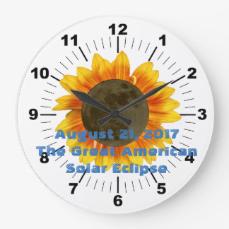 2017 Solar Eclipse, Sunflower Edition Large Clock