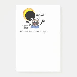 2017 Solar Eclipse Survival Edition Post-it Notes
