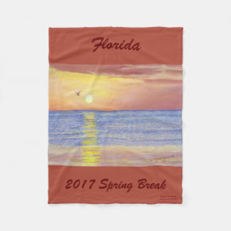 2017 SPRING BREAK SUNSET SEAGULL FLEECE BLANKET