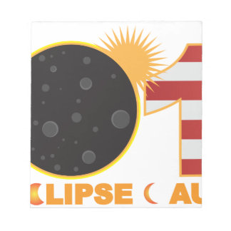 2017 Total Solar Eclipse Over USA Numeral Notepad