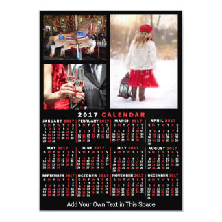 2017 Year Monthly Calendar Black Custom 3 Photos Magnetic Card