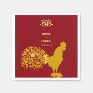 2017 Year Of Rooster Red Gold Chinese Wedding Paper Napkin
