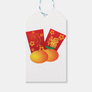 2017 Year of the Rooster Red Packets Illustration Gift Tags