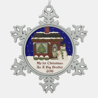 2018 1st Christmas As A Big Brother Pewter Snowflake Decoration