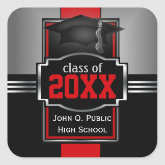 2018   2019 Red Graduation Year and School Square Sticker