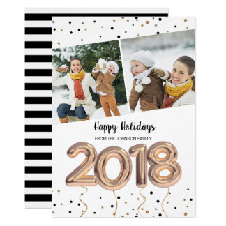 2018 Balloons | Christmas Holiday | 2 Photo Card