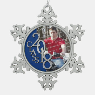 2018 Blue and Silver Graduate Photo Snowflake Pewter Christmas Ornament