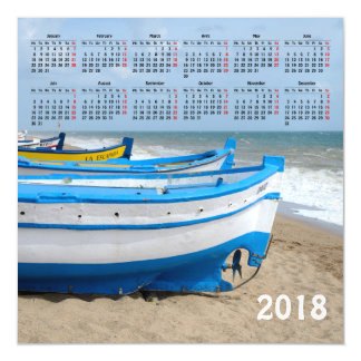 2018 boats calendar magnetic card