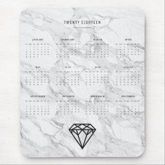 2018 Calendar Diamond with Marble Mouse Pad