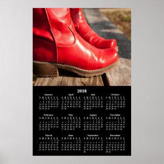 2018 Calendar Fancy Red Cowboy Boots Poster