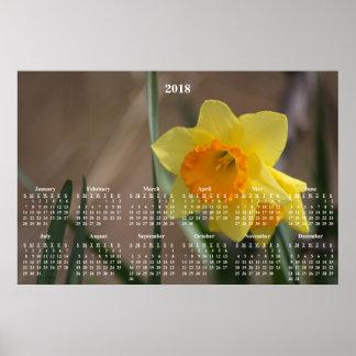 2018 Calendar Golden Daffodil Photograph Poster
