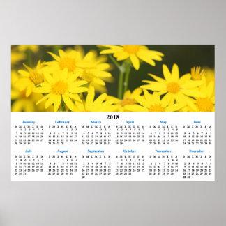 2018 Calendar Golden Wildflowers Photograph Poster