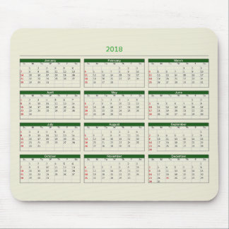 2018 Calendar Mouse Pad