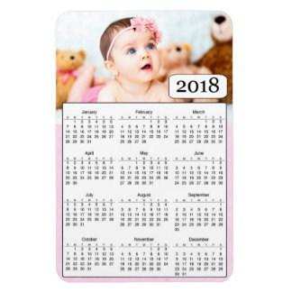 2018 Calendar Personalized Baby Girl Photo Magnet