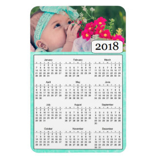 2018 Calendar Personalized Teal Photo Magnet