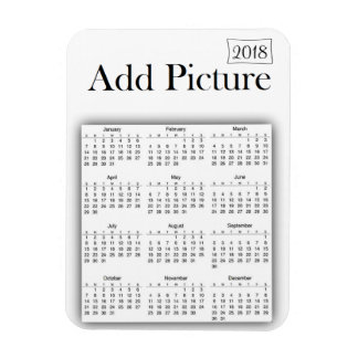 2018 Calendar Personalized White Photo Magnet