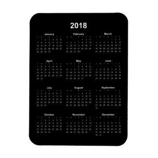2018 Calendar - White Text w/ Black Background Magnet
