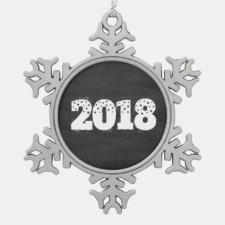 2018 chalk board snowflake pewter christmas ornament