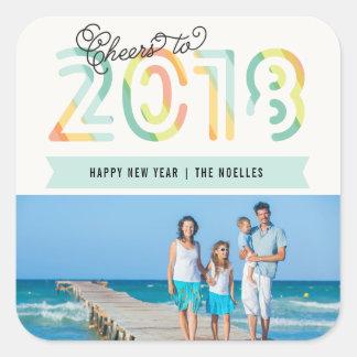 2018 Cheers Citrus Stripes New Year Photo Sticker