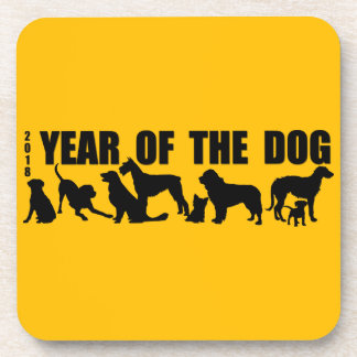2018 Chinese New Year of The Dog Square Sticker Coaster