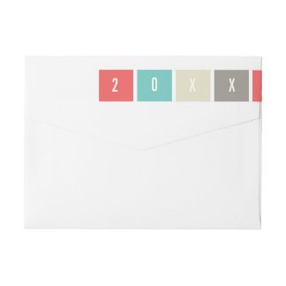 2018 Color Blocks New Year Holiday Address Labels