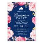2018 Grad Floral Wreath Navy Blue Graduation Party Card