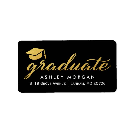 2018 Graduate Gold Calligraphy Script Graduation Label