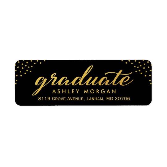 2018 Graduate Script Gold Dots Graduation Return Address Label