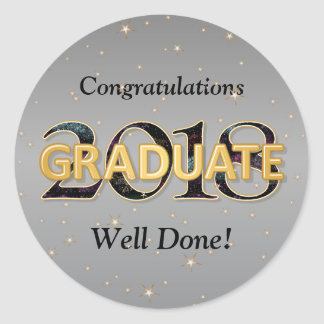 2018 Graduate with Stars Fireworks Silver Gold Classic Round Sticker