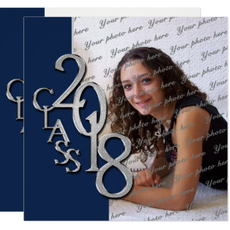 2018 Graduation Navy Blue and Silver Card