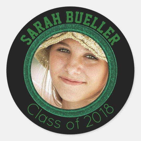 2018 Graduation Photo Name Green Black High School Classic Round Sticker