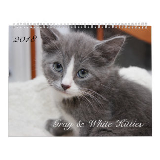 2018 GRAY & WHITE CATS CALENDAR