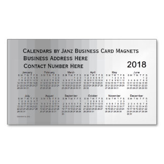 2018 Grey Shades Calendar by Janz Magnet Magnetic Business Cards
