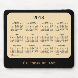 2018 Holiday 52 Week Black Wheat Calendar by Janz Mouse Pad