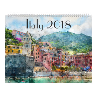 2018 Italy Art Watercolor Wall Calendars