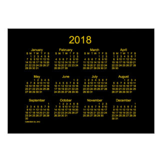 2018 Neon Gold Wall Calendar by Janz Poster