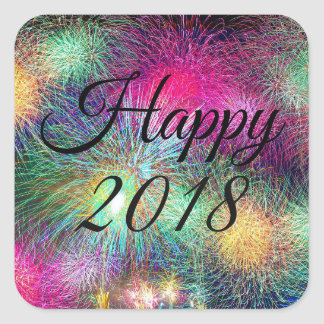 2018 New Year Fireworks Postage Stamps Square Sticker