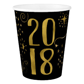 2018 New Year's Eve Party Faux Gold Foil Paper Cup