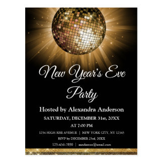 2018 New Year's Eve Party Gold Disco Ball Postcard