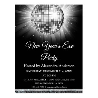2018 New Year's Eve Party Silver Disco Ball Postcard